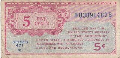1947 USA Series 471 5 Cents Military Payment Certificate Note, Pick M8