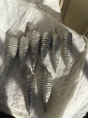 LOT of 8 Antique Spun Cotton German Icicles covered in Early German Glitter OLD