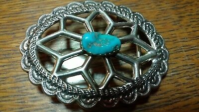 Navajo Signed Ajw Sterling Silver Turquoise Cast Belt Buckle Bright Blue Stone