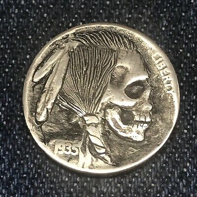 "1935 Hand Carved Original Hobo Nickel OOAK! ""Skinny Kaw-Liga"""