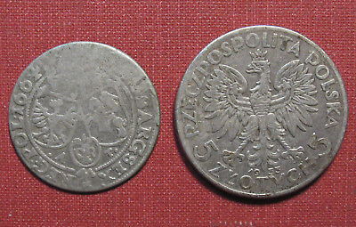 Lot Of (2) Poland Silver Coins - Separated In Age By Over 2-1/2 Centuries!