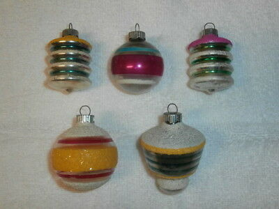 Lot of 5 Vintage SHINY BRITE Christmas Glass Ornaments - Mica - Smaltz Paint