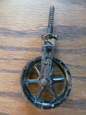 small screw top Pulley  old Original paint vintage rustic spoked wheel cast iron