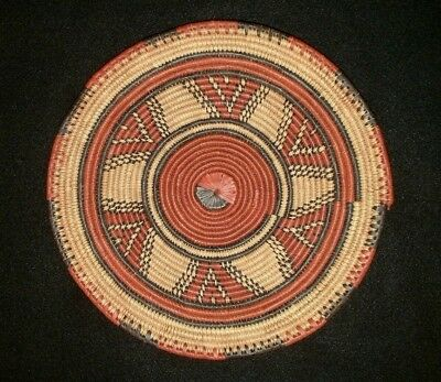 """12 3/4"""" Vintage Estate Native African Tribal Coil Weave Flat Woven Wall Basket"""