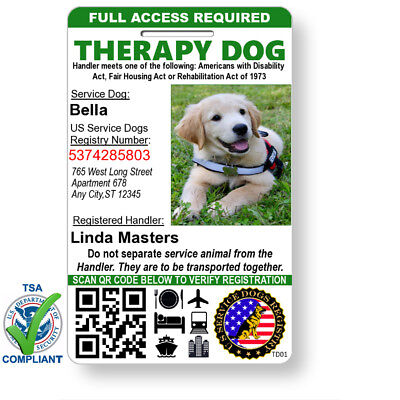Custom Therapy Dog ID Card Holographic Badge, QR Code, Free Registration & Strap