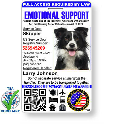 Custom Emotional Support Dog ID Card Holographic Badge QR Code, Registry & Strap