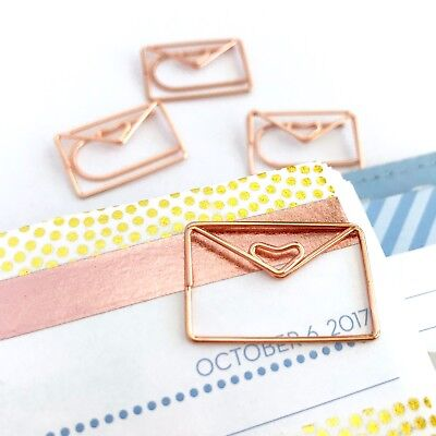 Mail Envelope Paper Clips Rose Gold Planner Accessories Shaped Paperclip Set
