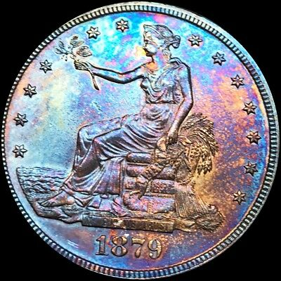 1879 Trade Silver Seated Dollar. SUPERB GEM PR++ Proof. MONSTER TONED Key Date!