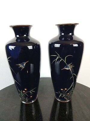 Antique Japanese silver wire cloisonne kingfisher vase pair attributed to Ota