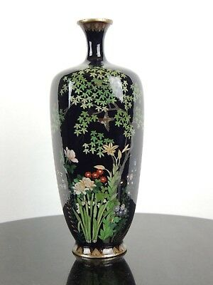 Antique Japanese cloisonne silver wire vase attributed to Ota Tamashiro