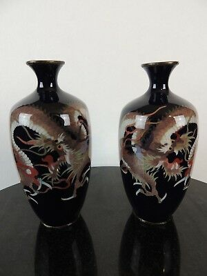 Antique Japanese silver wire dragon vase pair signed Yama Tadashi