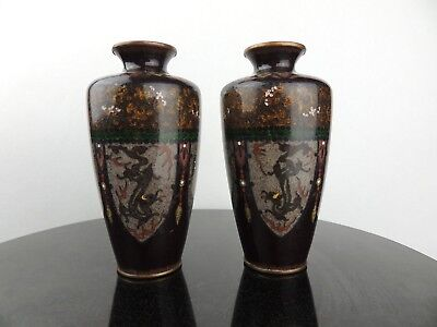 Beautiful Antique japanese Cloisonne vase pair