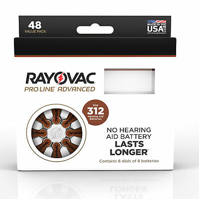 Rayovac Mercury Free Proline Advanced Size 312 Hearing Aid Batteries, Total of