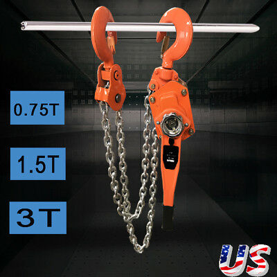 0.75/1.5/3 Ton Lever Block Chain Hoist Ratchet Type Comealong Puller Lifter Us