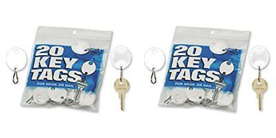 MMF Industries Snap-Hook Key Tags Plastic 1.25 Inches Height White 20 per Pac...