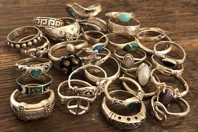 Lot Of 29 Assorted 925 Sterling Silver Rings Many Stone & Style 67.7gr FUN!