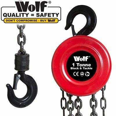 Wolf Heavy Duty 1 Ton Chain Block & Tackle Lifting Hoist with Safety Latch Hook