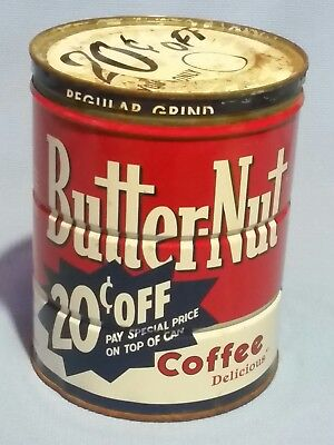 """ButterNut Coffee 2 lb Can with Top Lid 6.5""""×5"""" Tin Good Colors"""