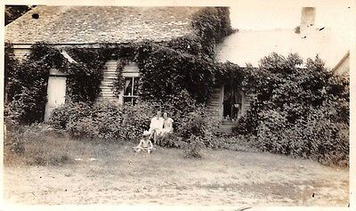 Women with Boy in Front of Ivy Covered House 1930s Vintage Black and White Photo