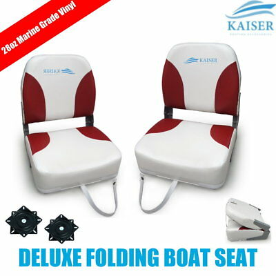 2 x Deluxe 28oz Marine Grade Vinyl Folding White/Red Boat Seat with swivel