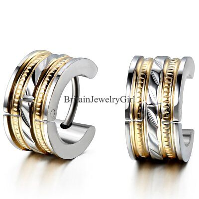 7mm Punk Stainless Steel Mens Womens Pierced Earrings Hoop Huggie Ear Studs 2PCS