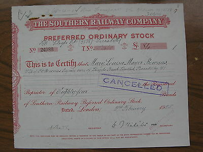 1925 The Southern Railway Company GBP 84 pounds Stock Certificate LONDON UK
