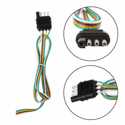Trailer Light Wiring Harness Extension 4-Pin Plug 18 AWG Flat Wire Connector