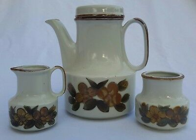 Vintage 1970s teaset.  Teapot, sugar bowl and jug, handpainted, kitchenalia