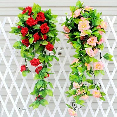 Artificial Rose Jasmine Lavender Flowers Vine Ivy Garland Wall Home Floral Decor