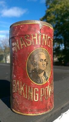 Washington Baking Powder Tin Can  Sealed Newburgh, NY - Rare - Hard to Find NOS