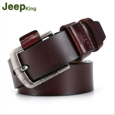 Genuine Real Cow Leather Mens Belt Waistband Waist Strap Girdle Smooth Buckle