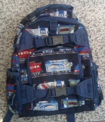 Pottery Barn Kids Mackenzie Backpack Navy Blue Trains Caboose Engine NWOT*Read*
