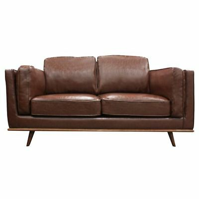 NEW Melbournians Furniture York 2 Seater Sofa, PU Leather, Brown