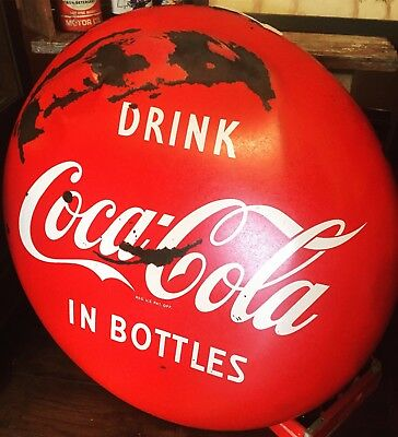 """Porcelain Coca Cola Button 36"""" Drink In Bottles Advertising Sign Soda Pop Store"""