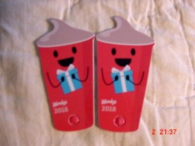 2  Wendy's 2018 Key Tag Keychain Free Jr Frosty Every Visit - Anywhere Free Ship