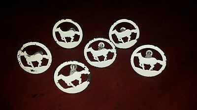6 Horse Metal Knobs Pulls Kitchen Drawer Dresser Cabinet Chabby Chic Distressed