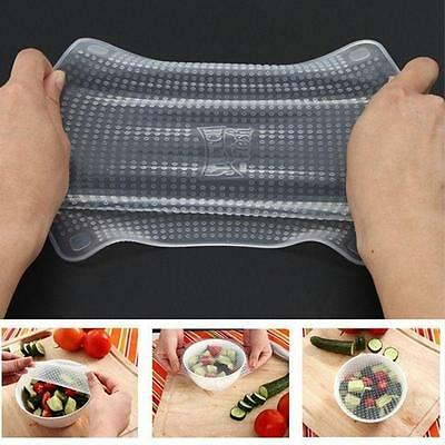 4pcs Silicone Wraps Seal Cover Stretch Cling Film Food Fresh Keep Kitchen Set TF