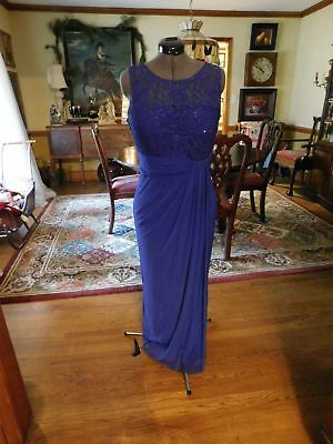Beautiful Mother Of The Bride Or Groom Royal Blue Lace Top W/jersey Formal S 14