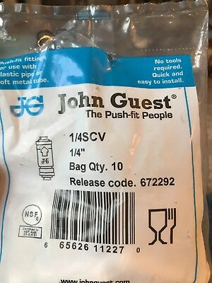 "10 pack  John Guest 1/4SCV 1/4"" Inline  Check Valve    R O WATER"