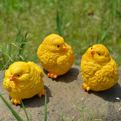 3 pcs Resin Yellow Baby Chicks Spring Chickens Easter Garden Home Ornament Decor