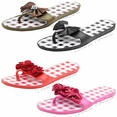 Women New Flip Flop Check Style Casual Beach Comfy Slider Ladies Slipper Shoe UK