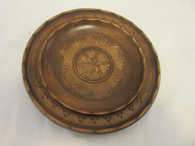 "ANTIQUE SOLID WOODEN PLATE -- FROM GERMANY 50s -- HAND CARVED --7 1/16"" DIAMETER"