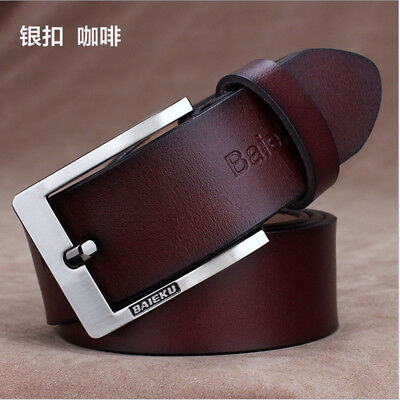 New Genuine Cow Leather Men's Waistband Waist Strap Belt Girdle Smooth Buckle