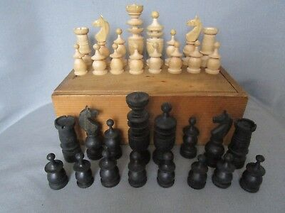 Antique Vintage French  Chess Set Hand Turned Wood w/ Wooden  Box 32 pcs.