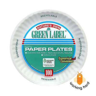 UNCOATED PAPER PLATES 6'' Compostable Biodegradable Dinnerware White 1000 CASE