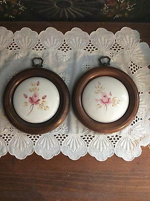 Set Of 2 Porcelain Plaques With Pink Roses Vintage Home Interior Used