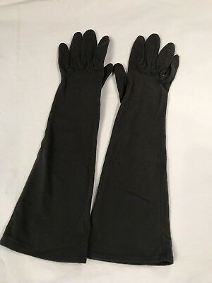 Vintage Ladies Gloves Gray Cotton 3/4 Length Vhade France Higbee's Small (B2-2)