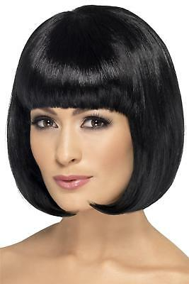 Ladies Jet Black 12 Inch Partyrama Wig Womens Fringed Bob Fancy Dress Hair Style