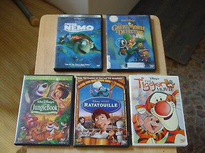 Lot of 5 Disney & Pixar DVDs Finding Nemo Great Mouse Detective Jungle Book Etc.
