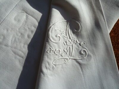 Vintage French Linen Hand Embroidered bed sheets, 3 incl.1 with monogram 'M&L'